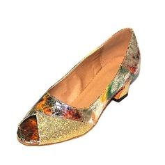 Женщины ткань На каблуках Латино с Атласный бант Обувь для танцев (053106672)