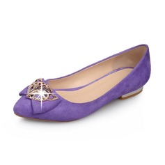 Wildleder Niederiger Absatz Flache Schuhe Geschlossene Zehe mit Des Bowknot Pailletten Schuhe (086062869)