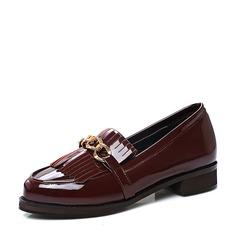 Femmes Cuir verni Talon plat Chaussures plates Bout fermé avec Tassel chaussures (086119367)