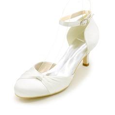 Женщины шелка как атласное Высокий тонкий каблук На каблуках с Рябь (047111529)