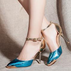 Женщины кожа Высокий тонкий каблук Сандалии На каблуках с кисточкой обувь (085107221)