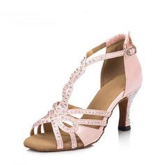 Женщины Атлас На плокой подошве Латино Обувь для танцев (053151573)