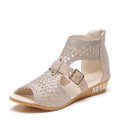 Kvinner Glitrende Glitter Kile Hæl Sandaler Kiler Titte Tå med Glitrende Glitter Spenne Glidelås sko (087131688)