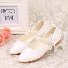 A menina de Fechados imitação de couro Heel plana Sapatas do florista com Beading Bowknot Velcro (207123044)
