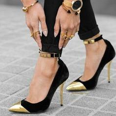 Женщины Замша Высокий тонкий каблук Сандалии На каблуках Закрытый мыс с блестками пряжка обувь (085124943)