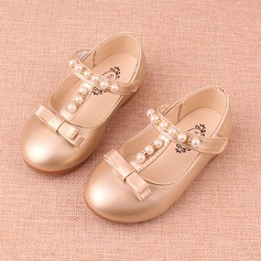 Jentas Lukket Tå Leather flat Heel Flate sko Flower Girl Shoes med Bowknot Imitert Perle Velcro (207153578)
