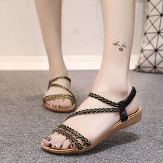 Женщины кожа Вид каблука Сандалии На плокой подошве Открытый мыс Босоножки с Плетеный ремень Соединение врасщеп Эластичная лента обувь (087121477)