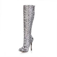 Женщины кожа Высокий тонкий каблук Закрытый мыс Ботинки Сапоги до колен с пряжка Животных печати Застежка-молния обувь (088095433)