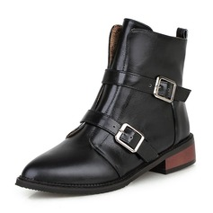 Women's PU Chunky Heel Boots Mid-Calf Boots Martin Boots With Buckle Zipper shoes (088146301)