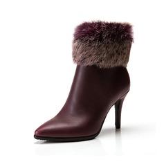 Женщины кожа Высокий тонкий каблук На каблуках Полусапоги с мех обувь (088057405)