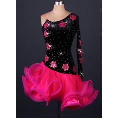 Женщины Одежда для танцев бархат Органза Латино Балетное трико (115086078)