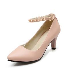 Женщины кожа Высокий тонкий каблук На каблуках Закрытый мыс с развальцовка обувь (085153090)