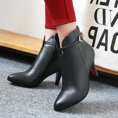 Женщины PU Высокий тонкий каблук На каблуках Ботинки Полусапоги с пряжка Застежка-молния обувь (088137538)