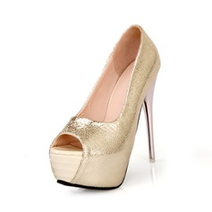 Konstläder Stilettklack Sandaler Plattform Peep Toe skor (087049246)