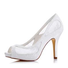 Женщины Кружева шелка как атласное Высокий тонкий каблук Открытый мыс На каблуках (047117239)