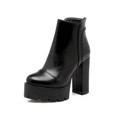 Женщины кожа Устойчивый каблук Платформа Полусапоги обувь (088097037)