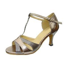 Женщины кожа Мерцающая отделка На каблуках Сандалии Латино Свадьба партия с Т-ремешок Обувь для танцев (053013135)