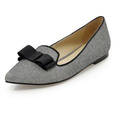 Sprankelende Glitter Flat Heel Flats Closed Toe met Strik schoenen (086067347)