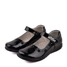 Girl's Closed Toe imitatieleer Flat Heel Flats Bloemenmeisje schoenen met Velcro (207150963)