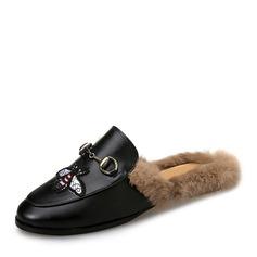 Женщины кожа Плоский каблук На плокой подошве Босоножки с пряжка мех обувь (086154825)