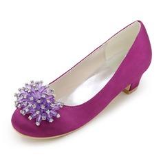 Bout fermé Low Heel Escarpins Chaussures de fille de fleur avec Strass (207111561)