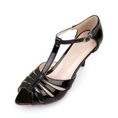 Lackskinn Stilettklack Sandaler Pumps med Spänne skor (087048990)