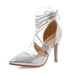Женщины Лакированная кожа Высокий тонкий каблук На каблуках Закрытый мыс обувь (085086001)