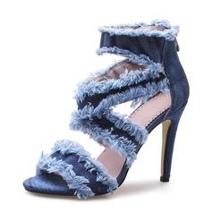 Kvinnor Jeans Stilettklack Sandaler Pumps Peep Toe med Zipper skor (087155398)