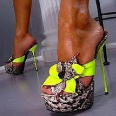 Frauen PU Stöckel Absatz Sandalen Absatzschuhe Peep Toe Slingpumps mit Bowknot Schuhe (087151068)