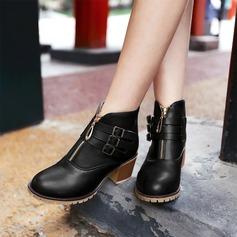 Femmes Similicuir Talon bottier Chaussures plates Bout fermé Bottes avec Boucle Zip chaussures (088126576)