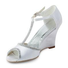Mulher Cetim Plataforma Peep toe Sandálias Calços com Contas (047011824)