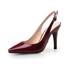 Женщины Лакированная кожа Высокий тонкий каблук На каблуках Закрытый мыс обувь (085094478)