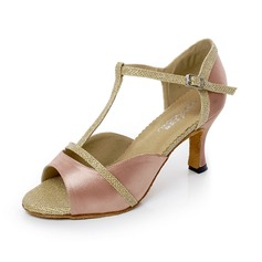 Женщины Атлас На каблуках Сандалии Латино с Т-ремешок Обувь для танцев (053066614)