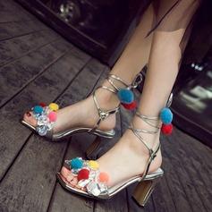 Mulheres Couro verdadeiro Salto robusto Sandálias Beach Wedding Shoes com Fivela Strass (047125436)