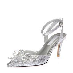 Mulheres Microfiber Læder Salto agulha Sandálias Beach Wedding Shoes com Fivela Flor (047125444)