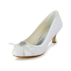 Vrouwen Sprankelende Glitter Cone Heel Closed Toe Pumps met Strik Bergkristal (047039429)