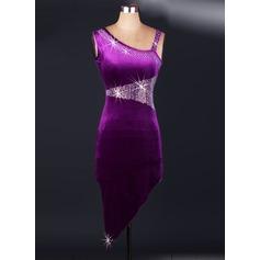 Женщины Одежда для танцев бархат Латино Платья (115091497)