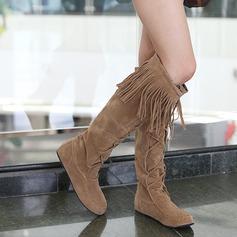Женщины Замша Плоский каблук На плокой подошве Закрытый мыс Сапоги до колен обувь (088094821)