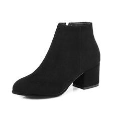 Couro Salto robusto Bota no tornozelo com Zíper sapatos (088101085)