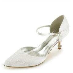 Женщины Кружева кожа Каблук Закрытый мыс На каблуках Сандалии с Каблуки с кристаллами (047166035)