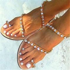 Mulheres Couro Sem salto Sandálias Beach Wedding Shoes com Strass (047125412)