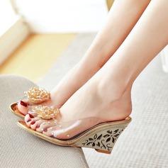 Mulheres Couro verdadeiro Plataforma Bombas Sandálias Beach Wedding Shoes com Strass (047125432)