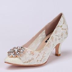 Женщины Кружева Высокий тонкий каблук Закрытый мыс Beach Wedding Shoes с горный хрусталь (047126524)
