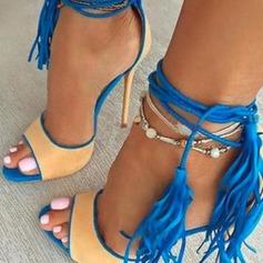 Женщины Замша Высокий тонкий каблук Сандалии На каблуках Открытый мыс с Шнуровка обувь (087157090)
