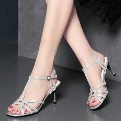 Mulheres Microfiber Læder Salto agulha Sandálias Beach Wedding Shoes com Fivela (047125440)