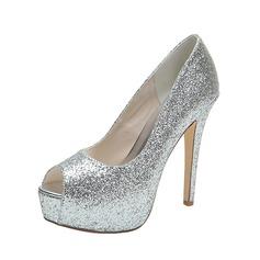 Kvinder Mousserende Glitter Stiletto Hæl Kigge Tå Platform Pumps sandaler (047053939)