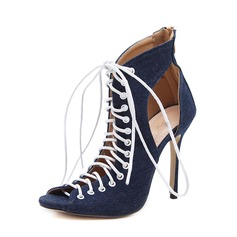 Kvinnor Jeans Stilettklack Sandaler Pumps Peep Toe med Zipper Bandage skor (087151072)