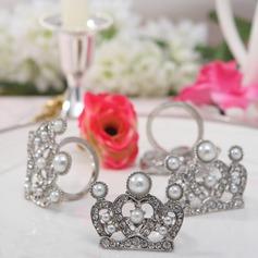 Корона Дизайн цинковый сплав кольца для салфеток с жемчуг (набор из 4) (051020304)