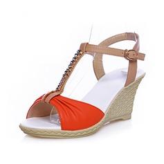 Keinonahasta Wedge heel Sandaalit Avokkaat Peep toe Kantiohihnakengät jossa Tekojalokivi Solki kengät (087046699)