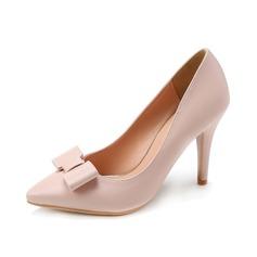 Женщины кожа Высокий тонкий каблук На каблуках с бантом обувь (085071178)